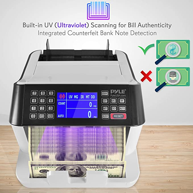 Pyle PRMC550 Money Counter Bill Counting Machine with Counterfeit Detection