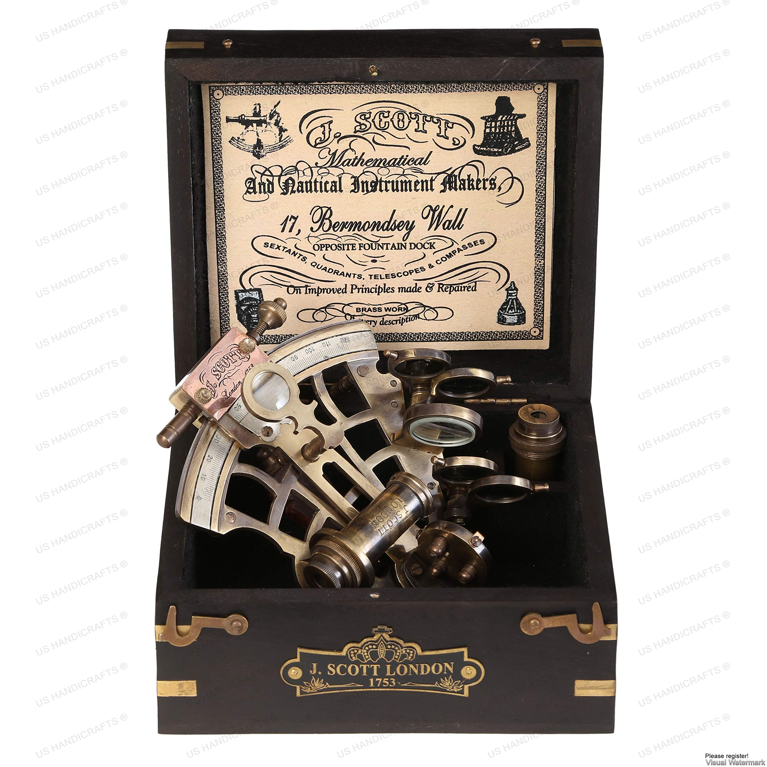 J. Scott London Brass Ship History Sextant with Hardwood Box. Vintage Solid Antique Brass Nautical Functional Maritime Sextant | Nautical Navy Decor Gifts. by US HANDICRAFTS