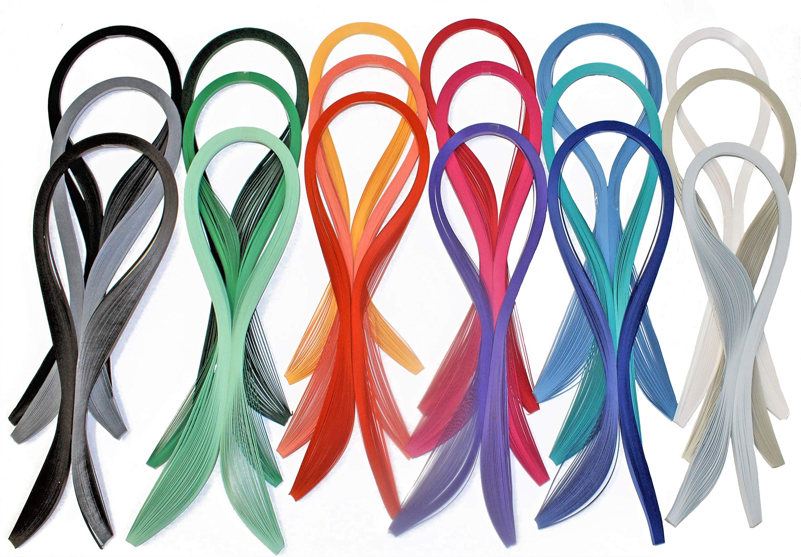 Paper Quilling Strips Set 18 Colors 900 Strips 24'' Length 1/8'' Wide by Craft Harbor