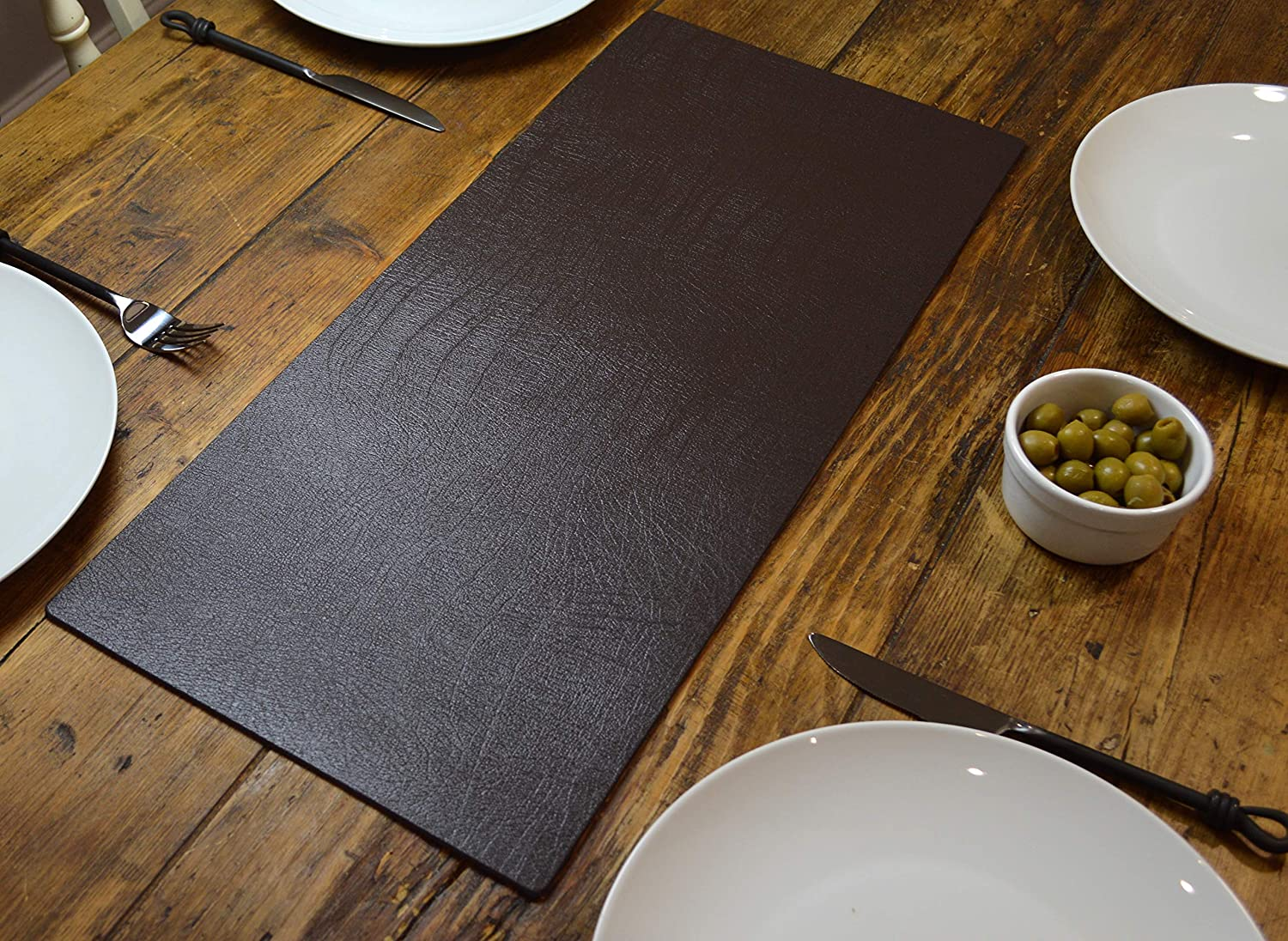 Giftag Artisan Brown Bonded Leather Table Runner Mat Dining Centrepiece,  60cm X 27cm Made In UK: Amazon.co.uk: Kitchen U0026 Home