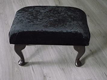 Foot Rest Pouffe Stool QueenAnne Legs British Made Gray Plush Velvet