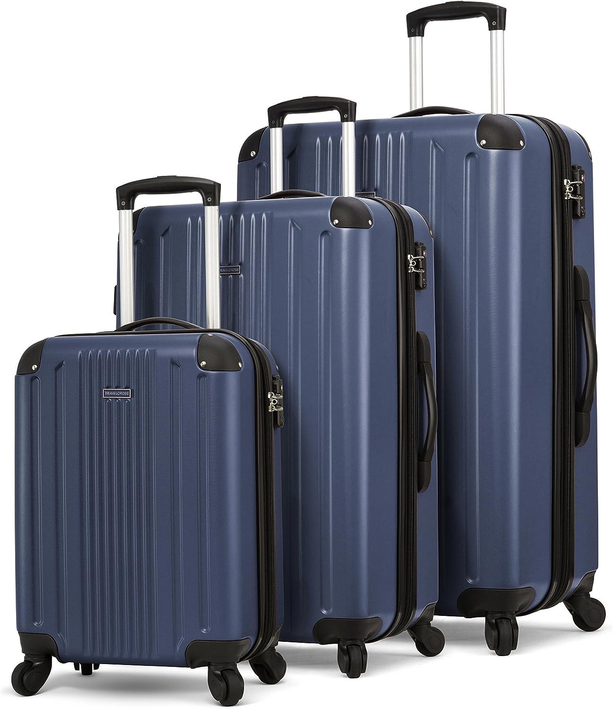 TravelCross Milano Luggage Expandable Lightweight Spinner Set Dark Blue, 20 24 28
