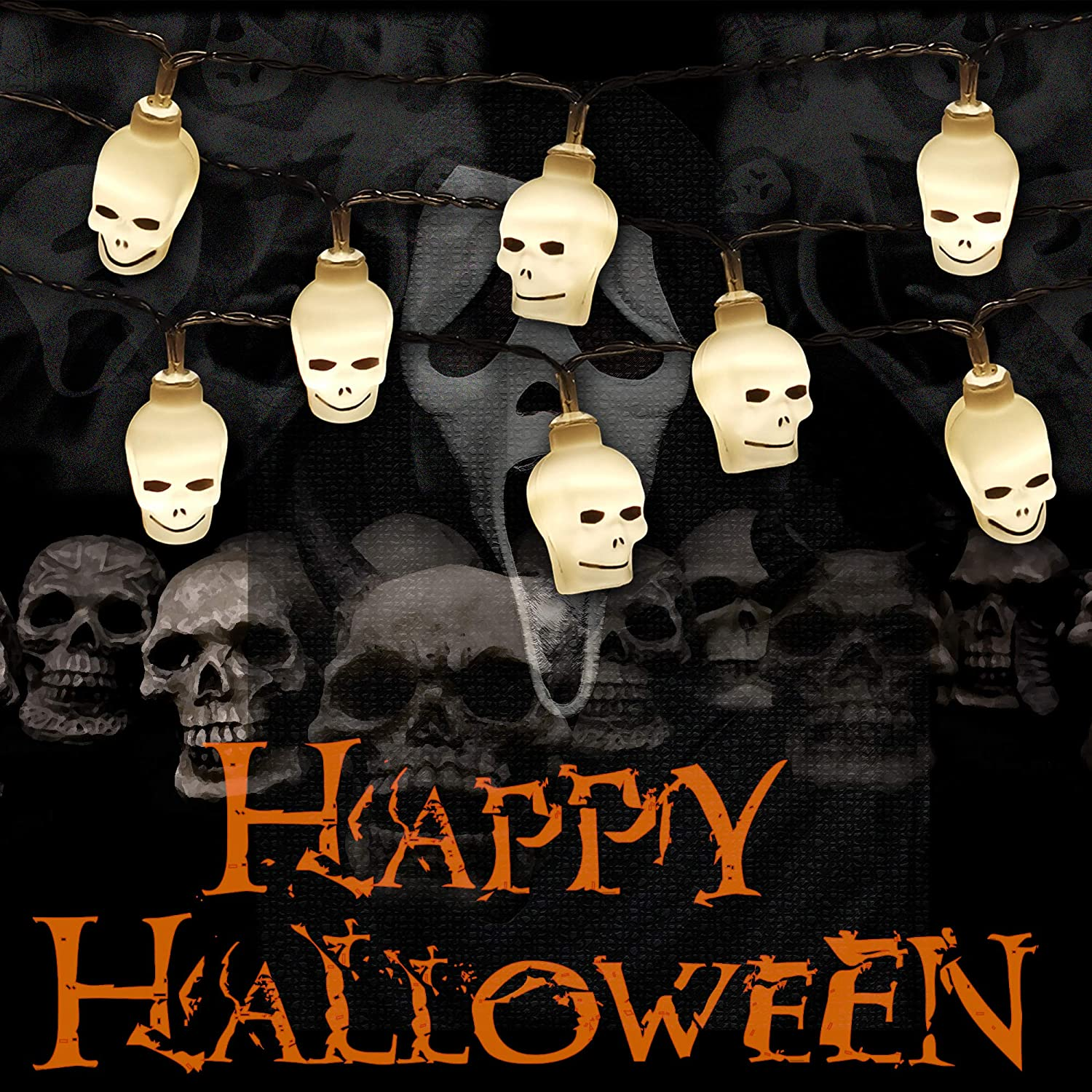 Halloween Decorations Lights with Remote,8 Modes IP65 Waterproof Battery Operated Fairy String Lights for Christmas Bar Outdoor Indoor Halloween Decor (Skull-Warm White)