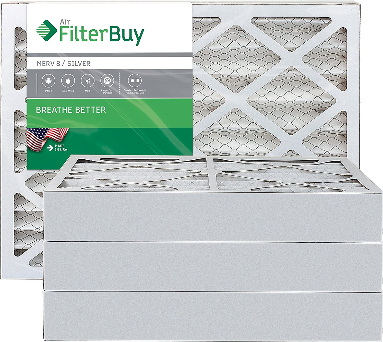 FilterBuy 20x20x4 MERV 8 Pleated AC Furnace Air Filter, (Pack of 4 Filters), 20x20x4 – Silver
