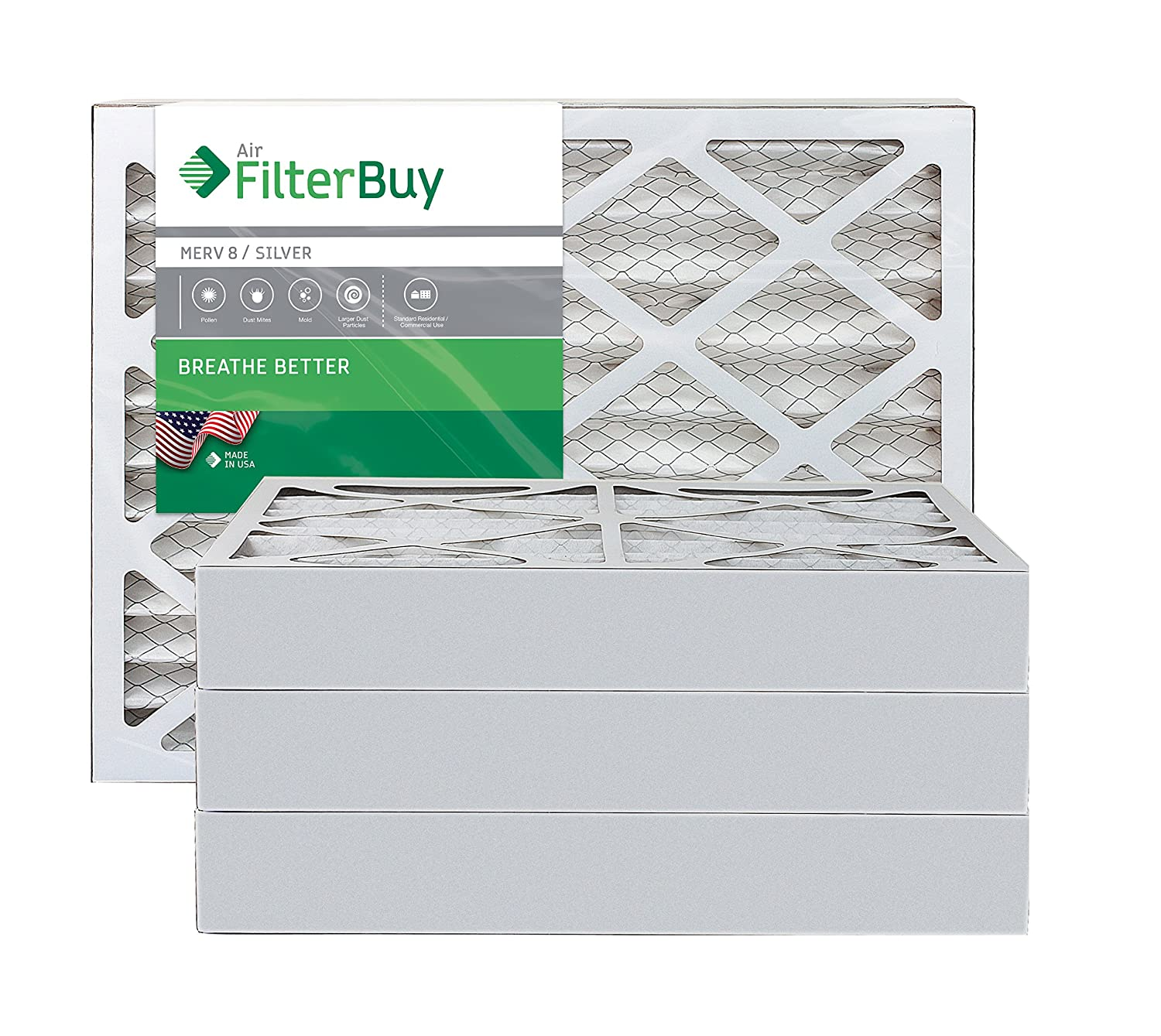 3. FilterBuy 16x25x4 MERV 8 Pleated AC Furnace Air Filter (Pack of 4 Filters), 16x25x4 - Silver