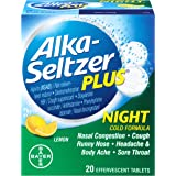 Alka Seltzer Plus Night Cold Medicine Effervescent Tablets, Soothing Lemon, 20 Count (Pack of 3)