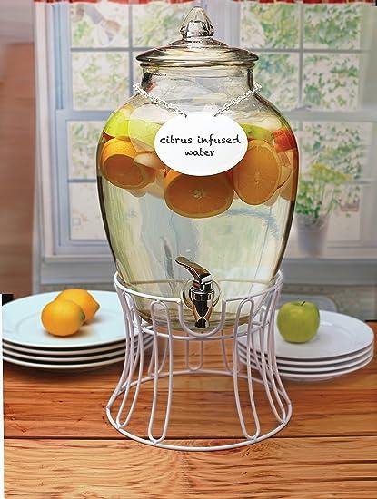 Circleware - Dispensador de bebidas de cristal con soporte de metal blanco, collar de pizarra