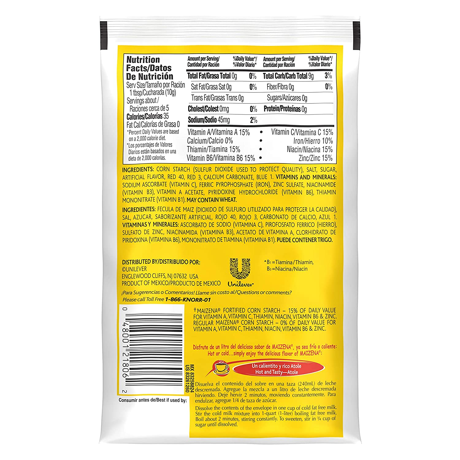 Amazon.com : Knorr Maizena Atole, Vanilla 1.6 oz, Pack of 48 : Powdered Drink Mixes : Grocery & Gourmet Food