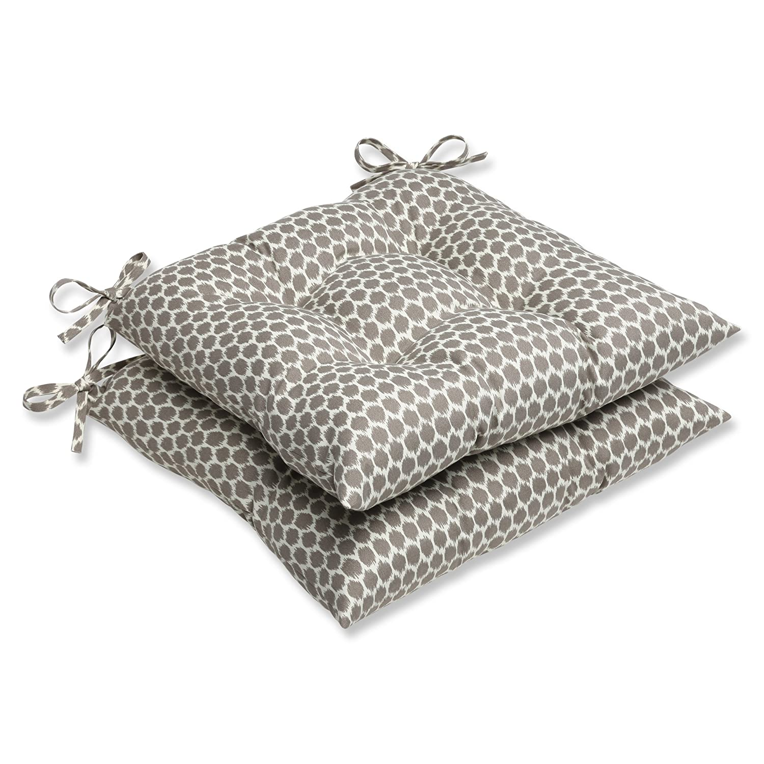 Pillow Perfect Outdoor Seeing Spots Sterling Wrought Iron Seat Cushion, Set of 2