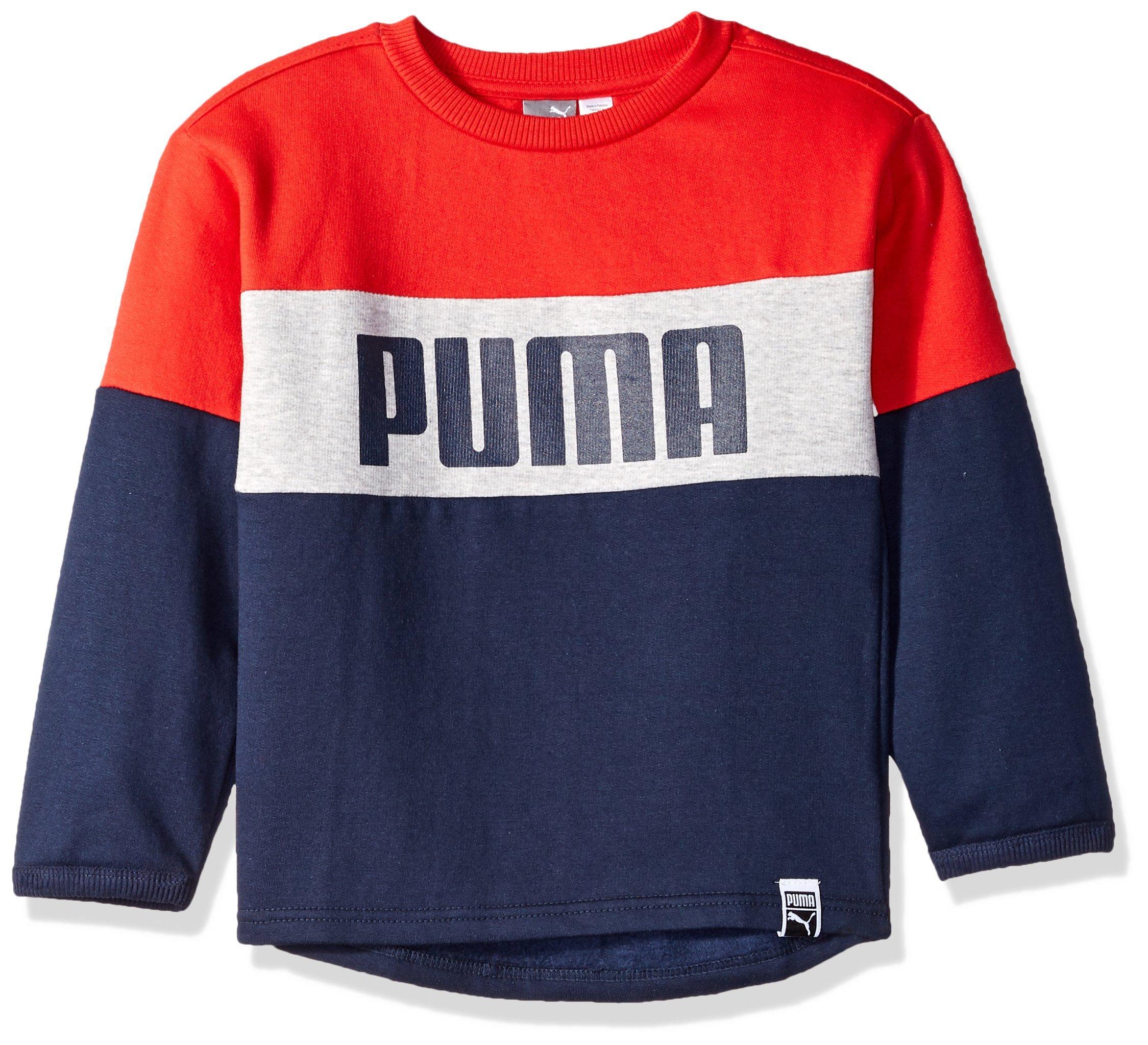 PUMA Little Boys' Fleece Sweatshirt, Peacoat, 5