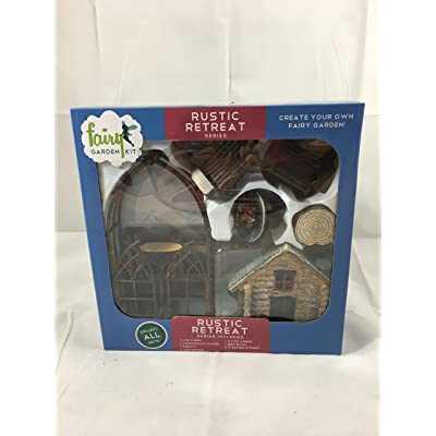 Rustic Retreat fairy garden kit (12 pc): Garden & Outdoor