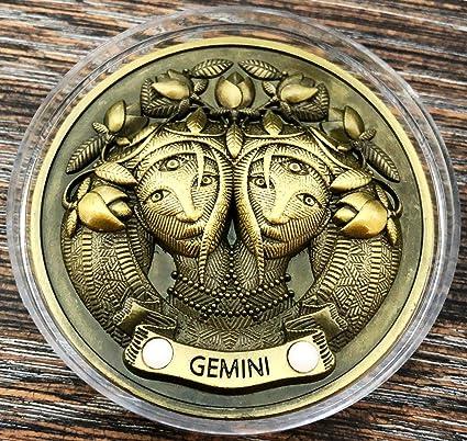 Gold Glow-In-The-Dark 3D My Zodiac Coin Swarovski® Crystals GEMINI