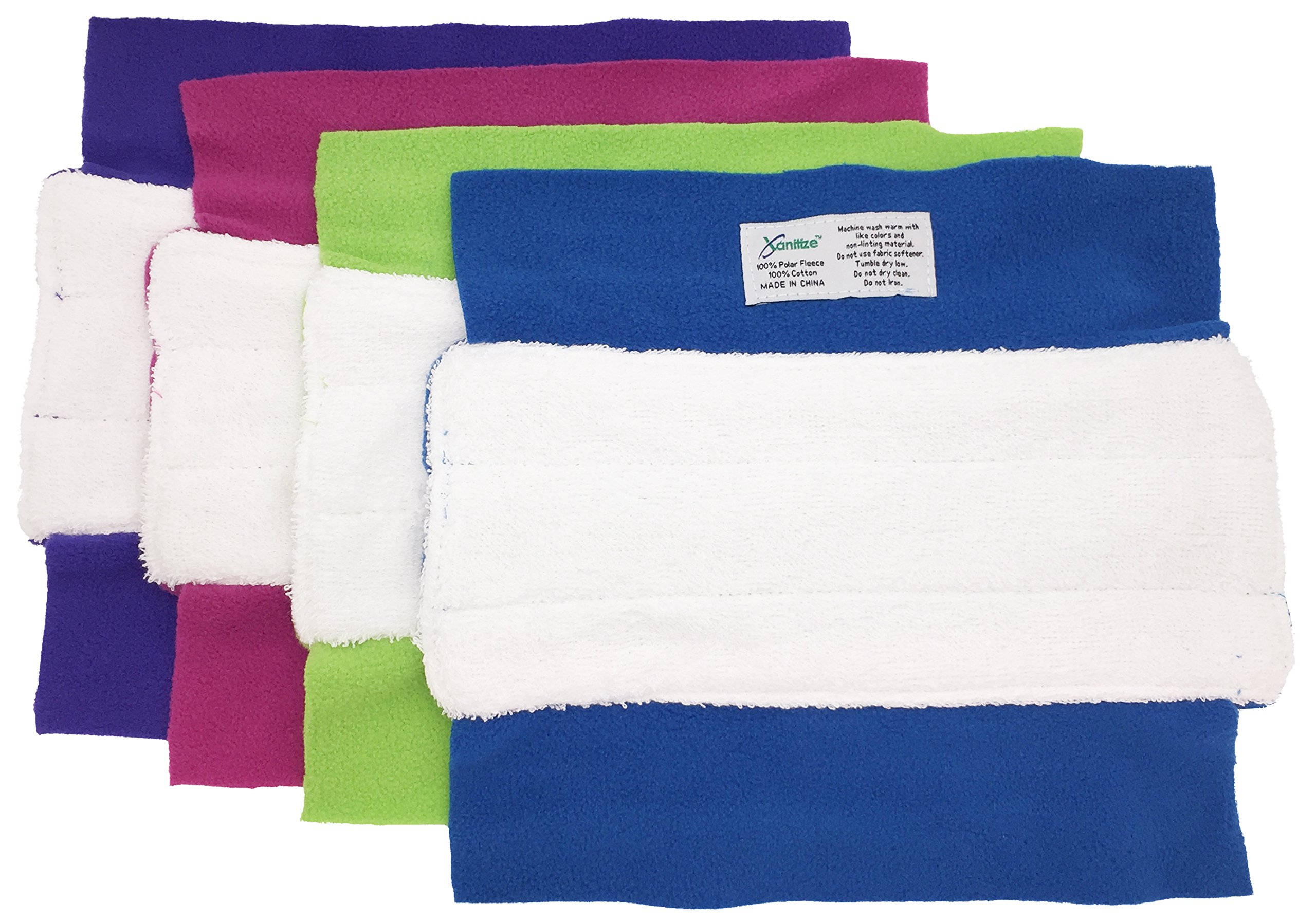 Wet Mop Pads for Sweeper - 2 Sided Fleece & Terry Cloth - Washable Reusable by Xanitize (4-Pack) (Standard, Purple, Blue, Green, Pink) by Xanitize (Image #2)