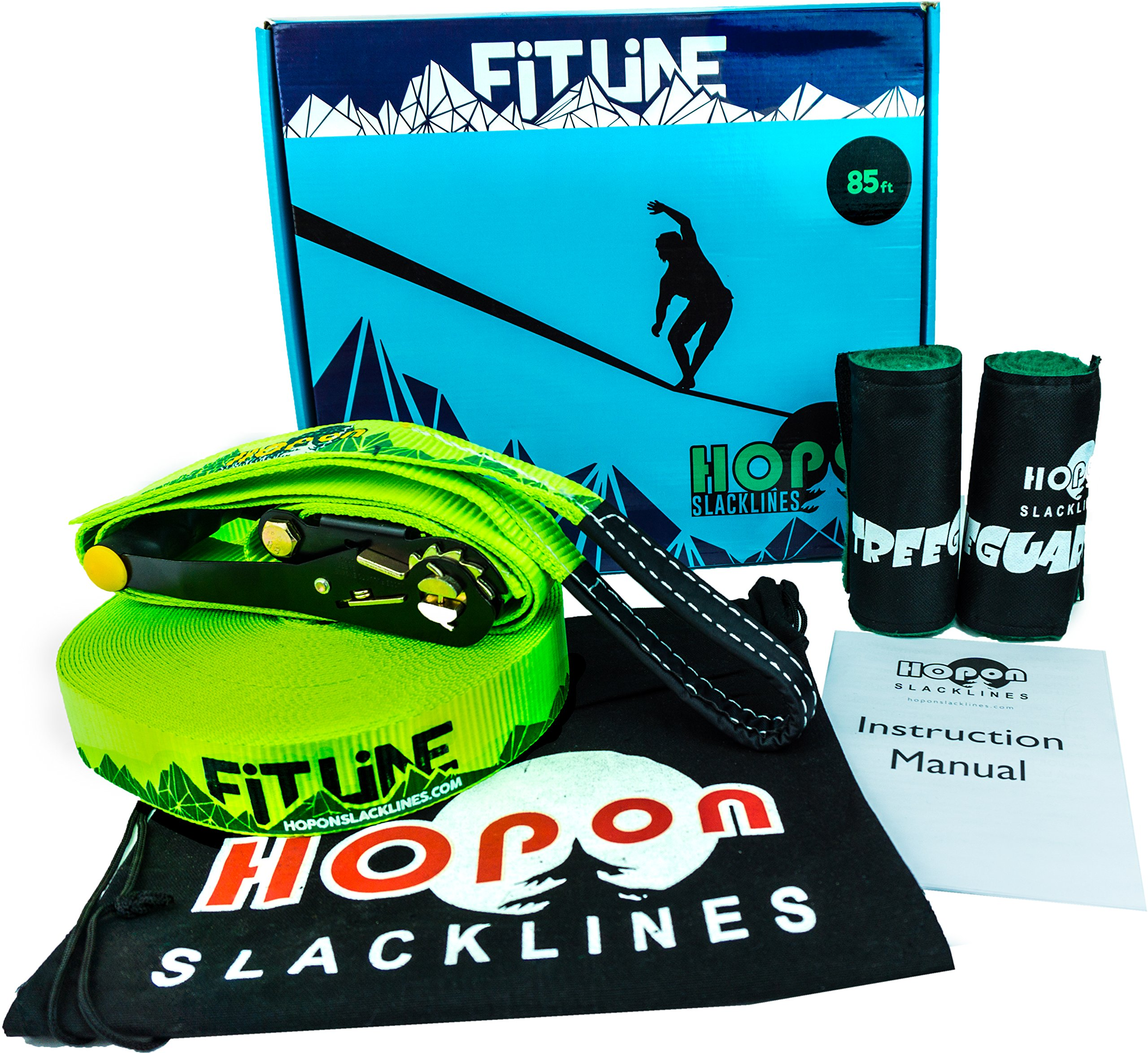 HopOn 85ft Longline Slackline Kit with Ratchet and Tree Protection - Green by HopOn Slacklines