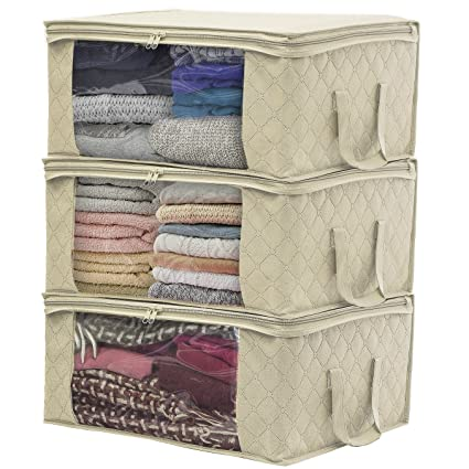 Sorbus Foldable Storage Bag Organizers, Large Clear Window U0026 Carry Handles,  Great For Clothes