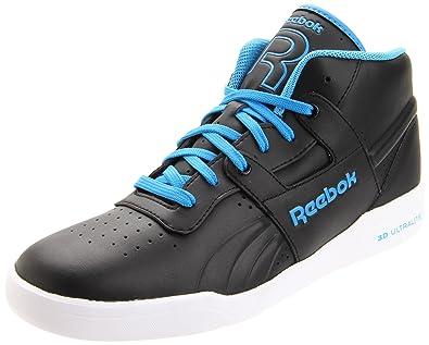 Reebok Mens Workout Mid Ultralite LTR Sneaker,Black/Easy Blue/White,7.5