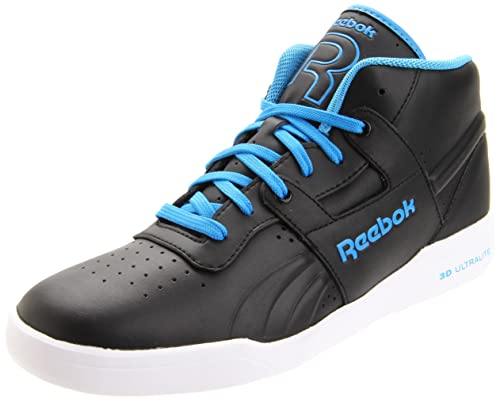 Reebok Mens Workout Mid Ultralite LTR Sneaker,Black/Easy Blue/White,7.5