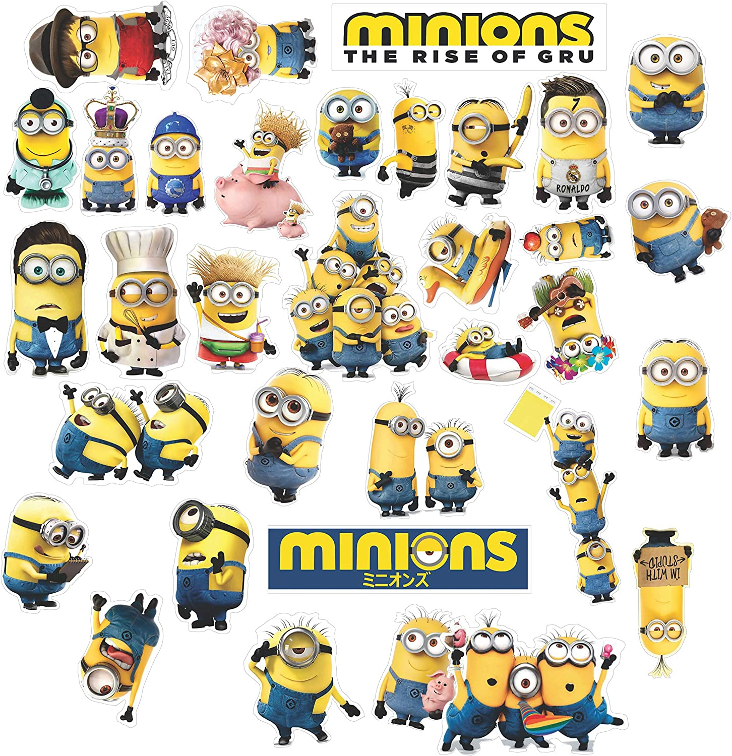 Minion Stickers, Waterproof Vinyl - 36 Pack of Peel and Stick Minions Stickers Wall Decal for Cute Birthday Party, Gift Bag, Birthday Card, Decorating Hydro Flask, Laptop, Phone Case Car. By HK Studio
