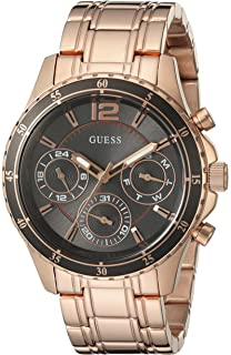 Guess Womens U0639L2 Modern Classic Rose Gold-Tone Watch with Grey Multi-Function Dial