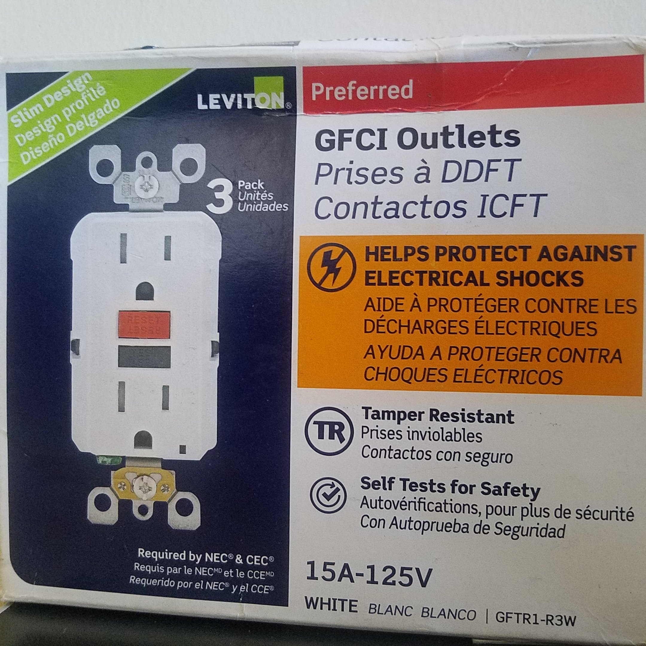 Best Rated In Ground Fault Circuit Interrupter Outlets Helpful Portable W Two 15 A Breaker Leviton Gfci M12 Gftr1 R3w White 3 Pack Product Image
