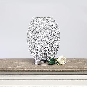 Elegant Designs LT1064-CHR Elipse Crystal Decorative Curved Accent Uplight Table Lamp, Chrome