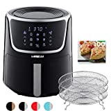 GoWISE USA GW22956 7-Quart Electric Air Fryer with Dehydrator & 3 Stackable Racks, Led Digital Touchscreen with 8 Functions +