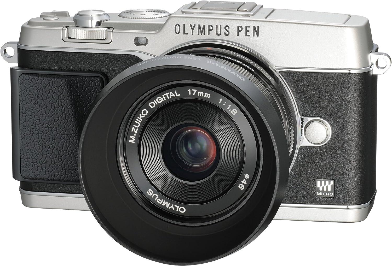 Black Olympus LH-48B Metal Lens Hood for M.ZUIKO DIGITAL 17mm 1:1.8 Lens