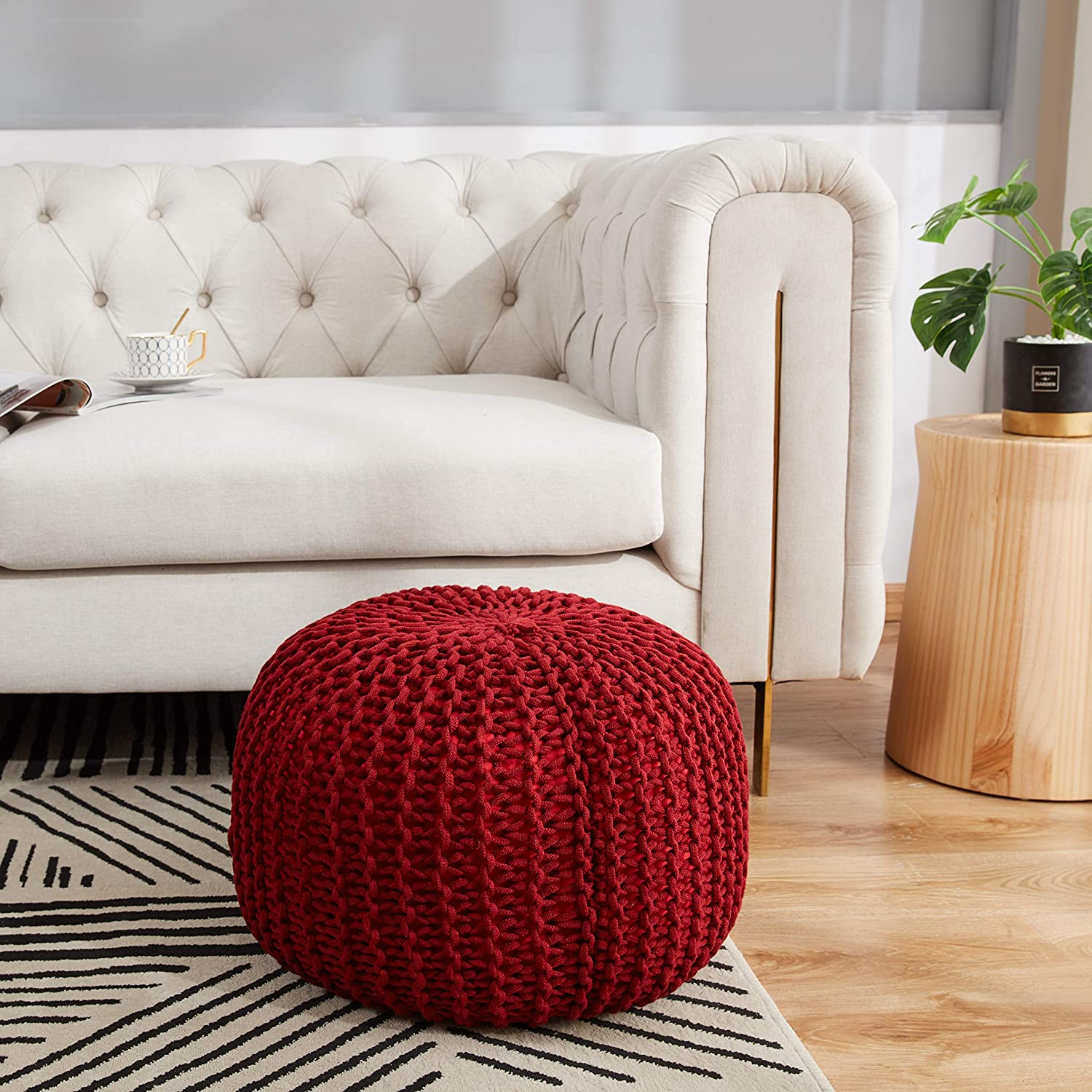 Amazon Com Cheer Collection 18 Round Pouf Ottoman Chunky Hand Knit Decorative And Comfortable Foot Rest Burgundy Furniture Decor