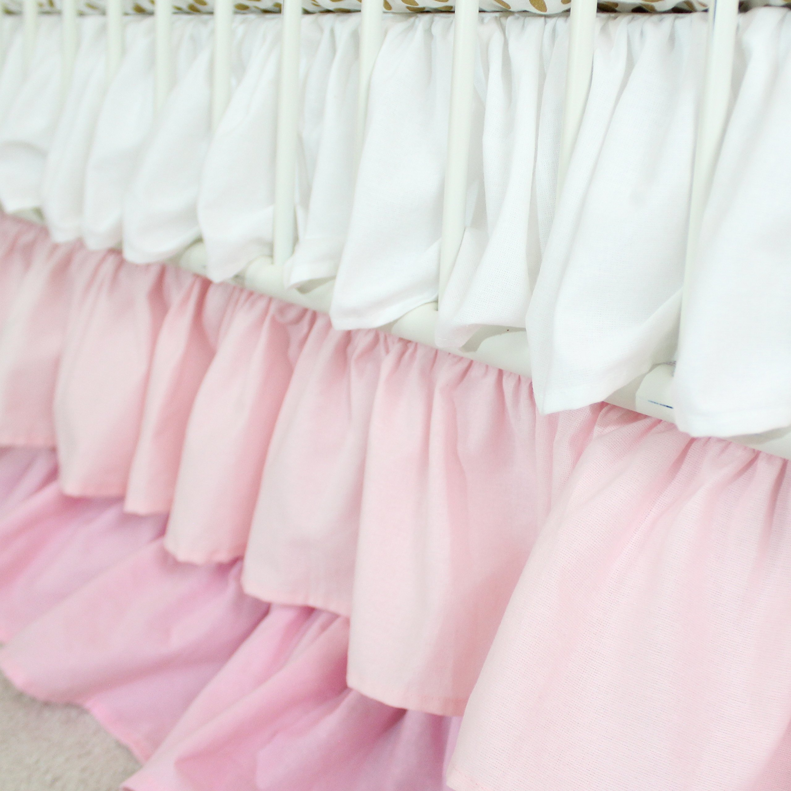 Ombre 3 Tiered Ruffled Crib Skirt - Fits standard cribs (White to Blush Pink Waterfall)