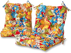Greendale Home Fashions AZ6815S2-ALOHA-RED Aloha Crimson Outdoor Chair Cushion (Set of 2)