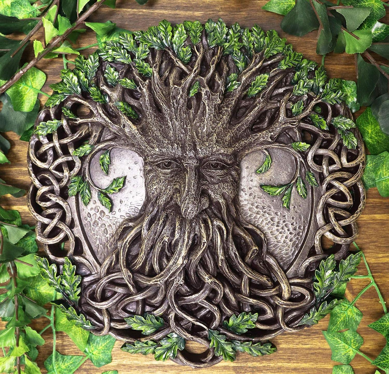 "Ebros Nature Spirit God Celtic Tree Of Life Oak Tree Greenman Hanging Wall Decor Plaque 12.5"" Diameter Wiccan Yggdrasil Forest Horned God Cernunnos Ent Mythical Fantasy Decorative Sculpture"