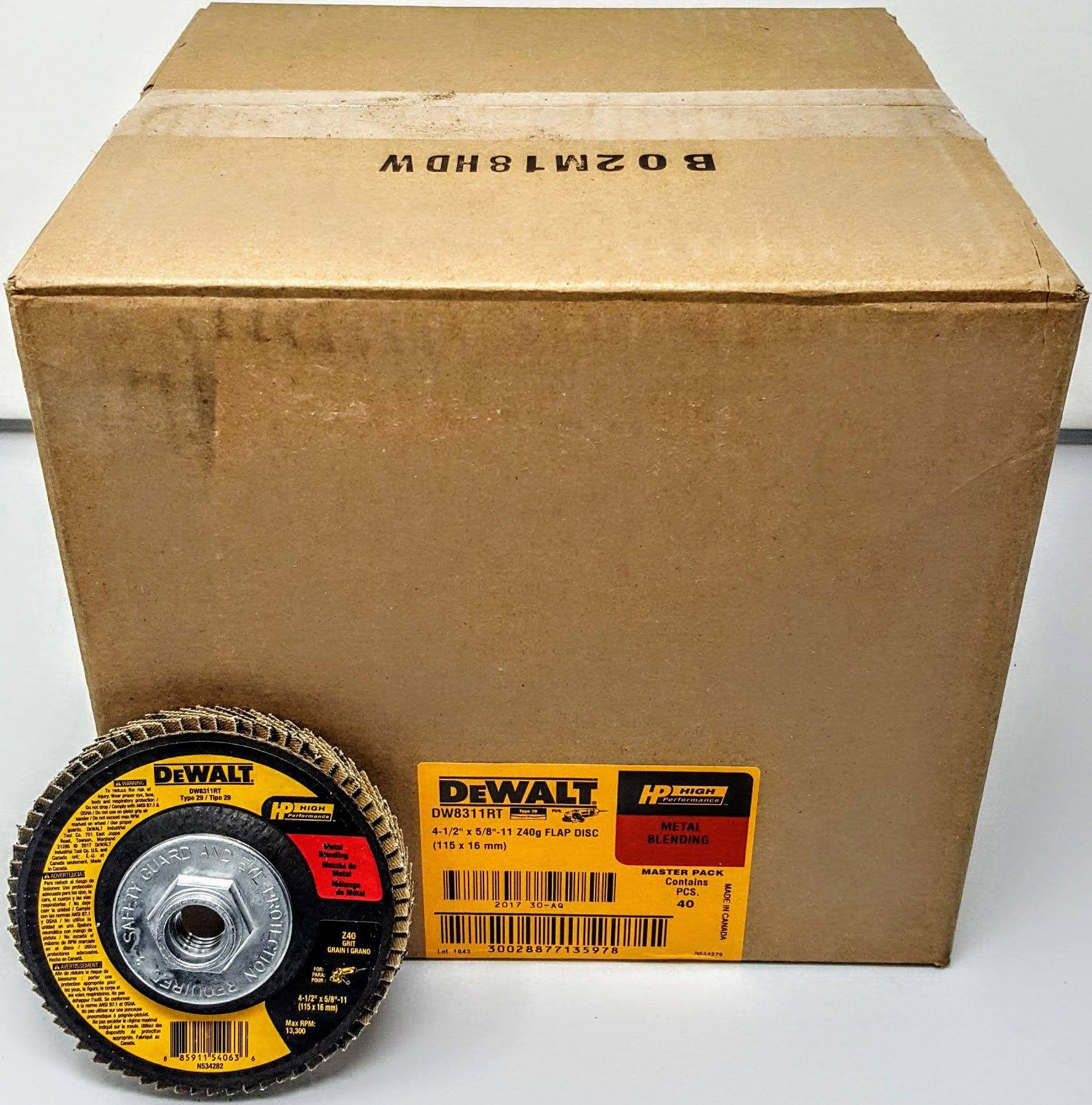DEWALT DW8311RT 4-1/2'' x 5/8''-11 Thread 40 grit High-Performance Flap Disc (40)