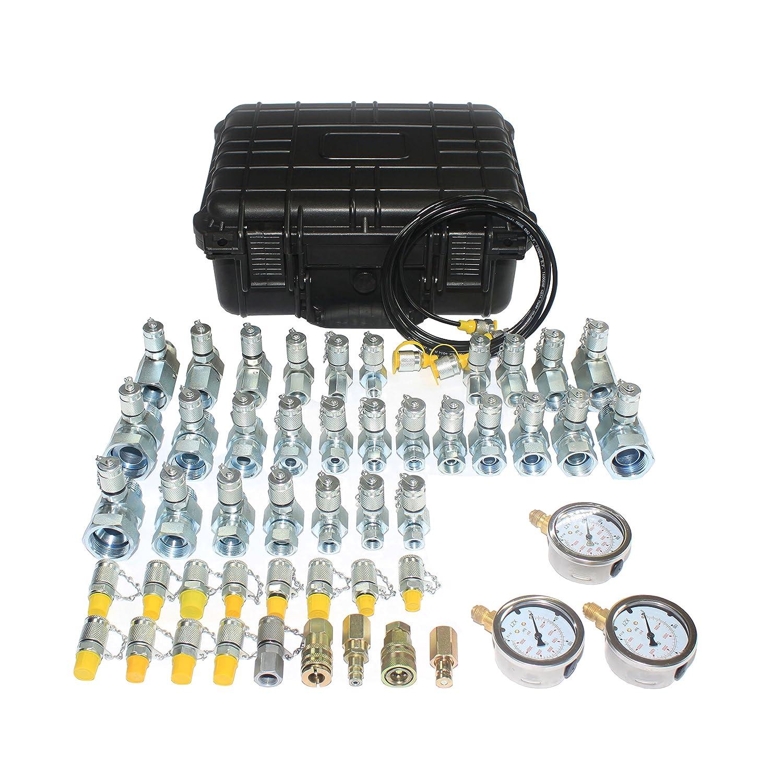 Akozon Pressure Gauge Excavator Hydraulic Pressure Test Kit with Testing Point Coupling and Gauge