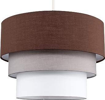 MiniSun - Preciosa pantalla de lámpara de techo colgante Azteca - redonda a 3 niveles de tela en marrón, gris y blanco: Amazon.es: Iluminación