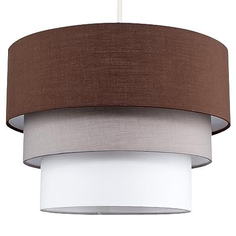 MiniSun - Preciosa pantalla de lámpara de techo colgante Azteca - redonda a 3 niveles de tela en marrón, gris y blanco