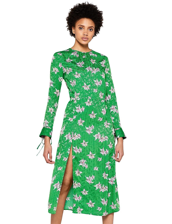 TALLA 42 (Talla del Fabricante: Large). find. Vestido Midi de Flores Mujer Verde (Green) 42 (Talla del fabricante: Large)