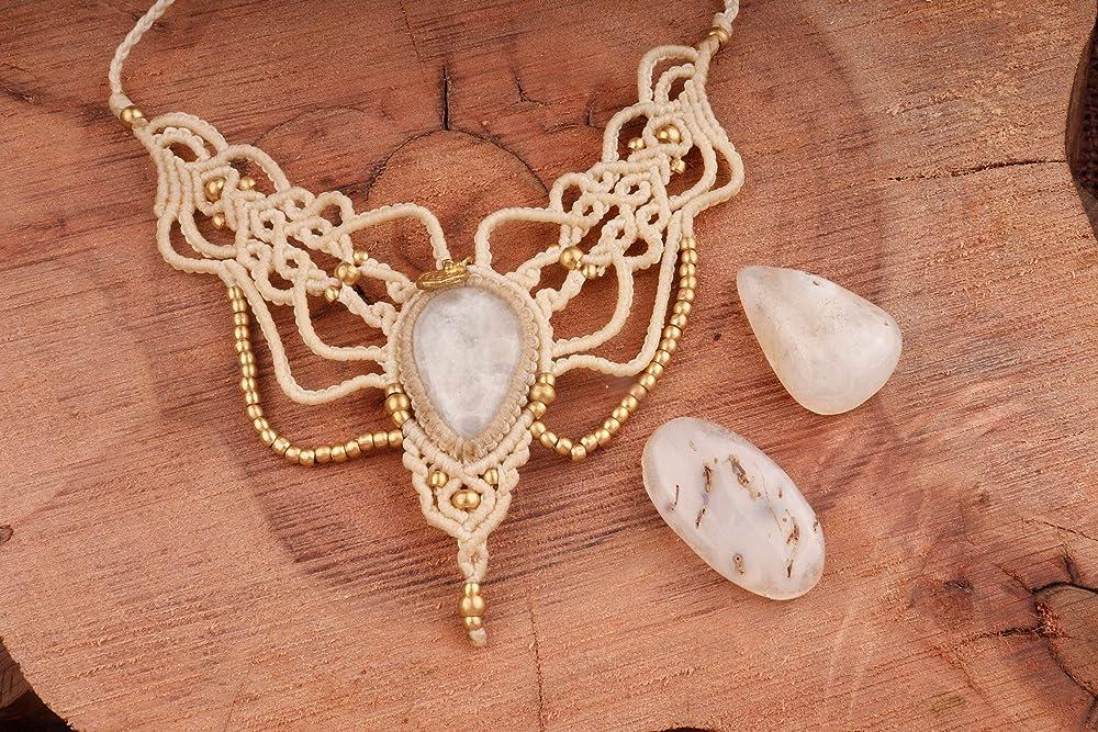 gift for her,adjustable handmade choker boho collar necklace,gemstone necklace Moonstone macrame necklace choker healing crystal necklace