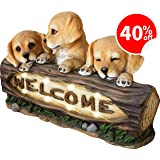 LA JOLIE MUSE Welcome Garden Statue with Solar Powered LED Lights, 15 Inch Puppy Dog Decor for Outdoor Garden Yard, Housewarming Gift