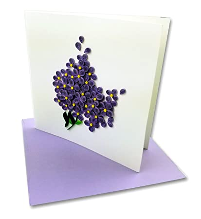 Amazon lilac bouquet quilling greeting card 6x6 with lilac bouquet quilling greeting card 6x6quot with envelope any occasion blank inside m4hsunfo