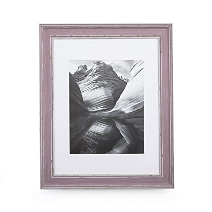 Amazon.com - 11x14 Picture Frame Distressed Rose - Matted to 8x10 ...