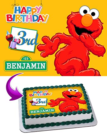 Elmo Sesame Street Birthday Cake Personalized Toppers Edible Frosting Photo Icing Sugar Paper A4 Sheet