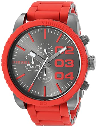 fdcaa4214234 Amazon.com  Diesel Men s DZ4289 Double Down Series Stainless Steel Watch  with Red Accents  Diesel  Watches
