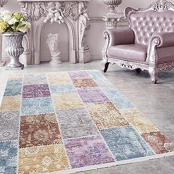 SIMPEX Hochwertiger Teppich Vintage Stil Patchwork Und Fransen, 5 Groessen  Grau Blau Gelb Pink Lila
