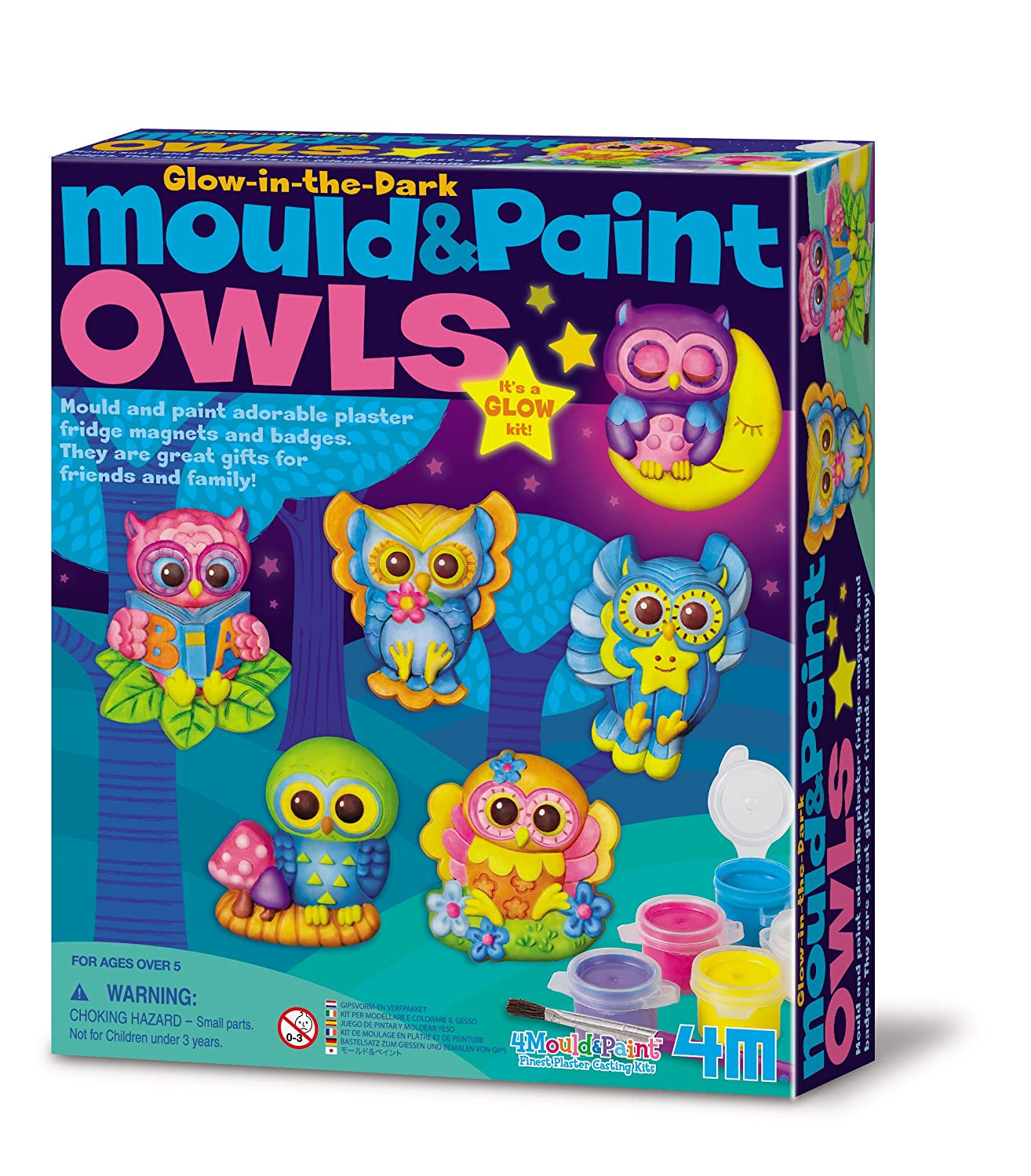 4M Mould and Paint Glow Owls Great Gizmos 404654
