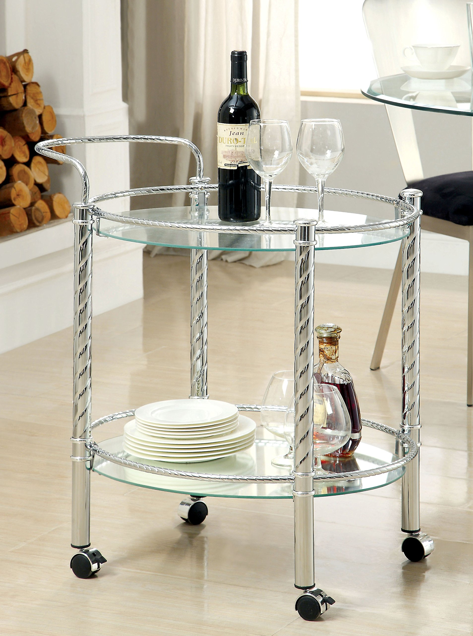 Furniture of America Verona Contemporary Serving Cart, Chrome
