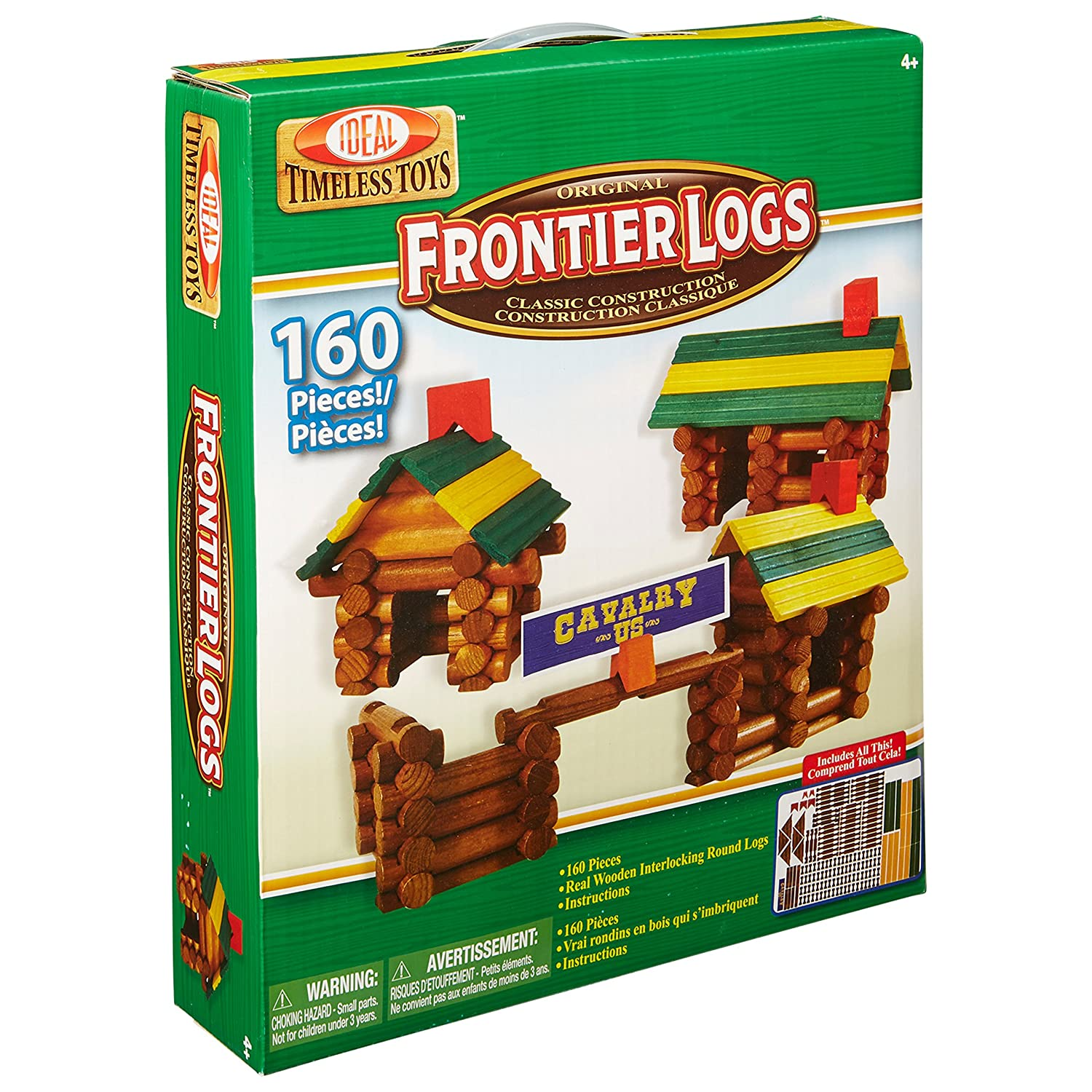 Ideal Frontier Logs Classic All Wood Construction Set with Storage Canister, 160-Pieces Alex 160L