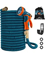 "Garden Hose, [ 2019 New Upgraded ] , 50 /100 ft Expandable Garden Hose,Expanding Water Hose,Lightweight Garden Water Hose with 3/4"" Solid Brass Fittings, 9 Function Spray Nozzle Expanding Garden Hoses,Durable Outdoor Gardening Flexible Hose"