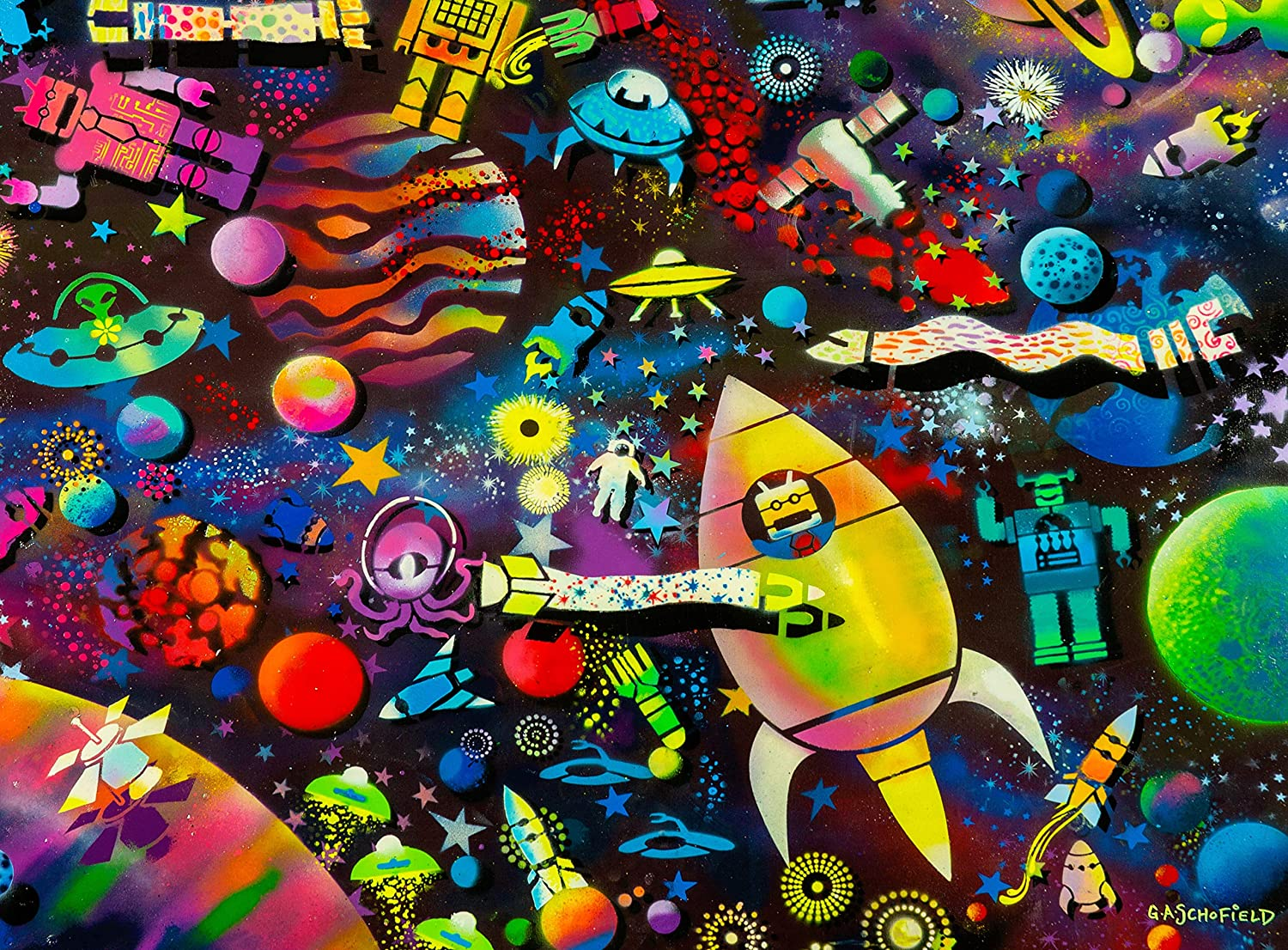 Outer Space Crowded Place 1000 Piece Jigsaw Puzzle