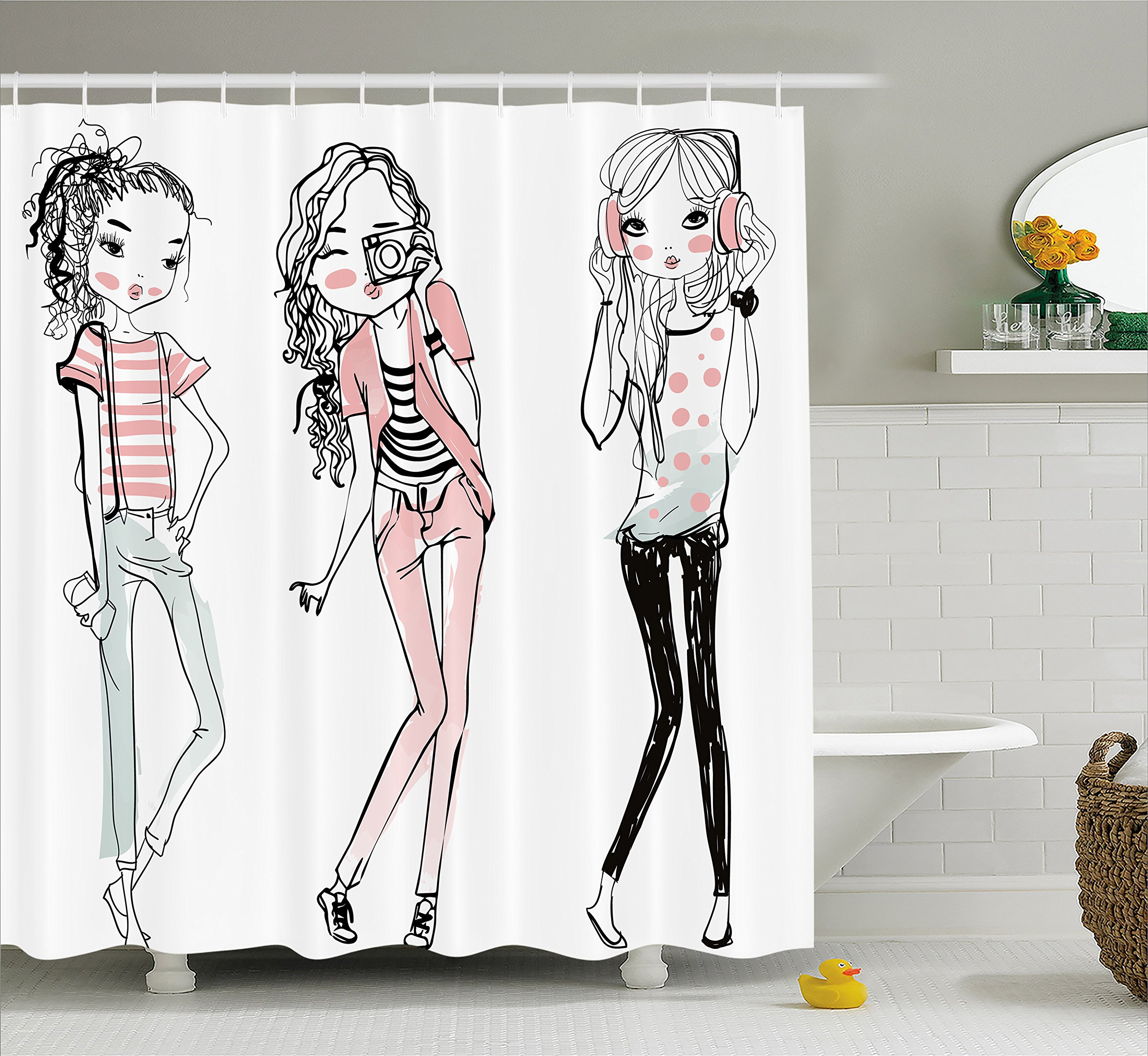 Ambesonne Girls Shower Curtain, Sketch Cute Cartoon Design Girls with Makeup Clothes Illustration Image, Fabric Bathroom Decor Set with Hooks, 70 Inches, Black Pale Pink White