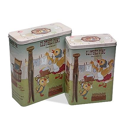 Versa 10390183 Set 2 Cajas Rectang Pinzas, 26,5x10,5x23,4cm,